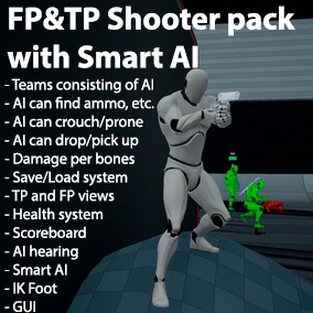 Smart shooter AI with skills of third person character and ready to use main character with two modes of view