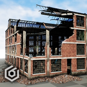 Factory Ruins modular props, 1940 architecture style