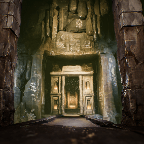 Game ready Fantasy Cave with detailed sculpts for rocks, environments, architecture pieces and very detailed sarcophagus asset