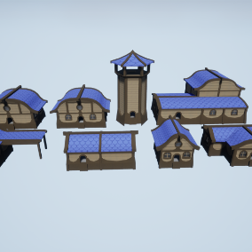 A set of fantasy houses with up to 3 levels of LOD these house all have modeled interiors and comes with a physics based door