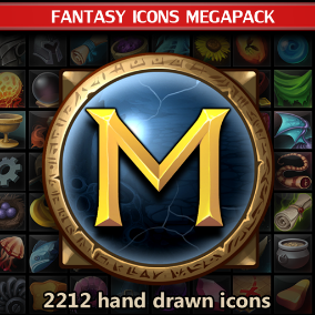 A set of 2212 hand drawn Fantasy Icons Megapack.