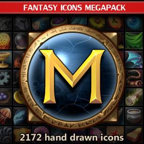 A set of 2172 hand drawn Fantasy Icons Megapack.
