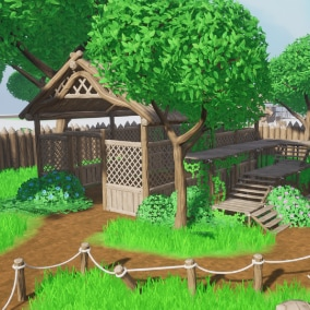 This pack include an assortment of stylized fantasy environment assets from highly customizable foliage to basic wooden structures. It also includes an advanced grass material and a controllable sweeping wind effect that help bring any environment alive.