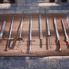 Fantasy Paladin Weapons Perfect for MMO or RPG. Medieval Fantasy Weapons, Swords, Shields, Maces, Hammers