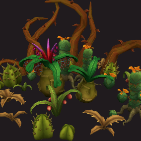 Set of Stylized Fantasy Plants