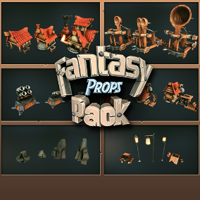 A set of 42 high quality Fantasy Props for your next RTS games - Rocks, Turrets, Houses, Ballista, Chests, Crates, Barrels, Street Lamps and Cages. Including Morph Targets