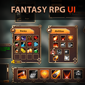 112 handpainted parts of RPG UI