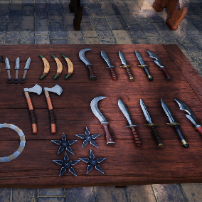 Fantasy Ranger Weapons Perfect for MMO or RPG. Bows, Daggers, Knuckles, Medieval Weapons, Arrows, Flintlock, Crossbow