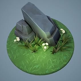 Set of stylized rocks, stones, grass and flowers for MOBA/Fantasy type game. Plus you're getting three materials for the ground: grass, soil and water for the complete stylized look.