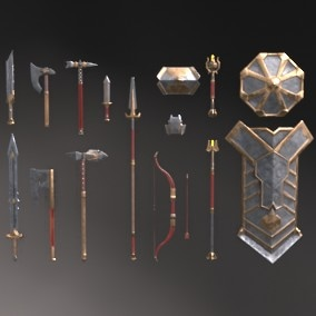 A set of fantasy Gnome weapons.  The set consists of sixteen unique objects.