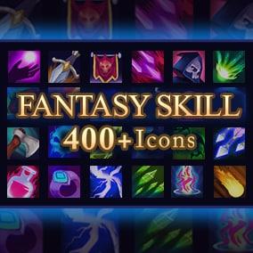 Set of 410 hand drawn fantasy skill icons.