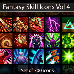 Set of 300 hand drawn skill icons.