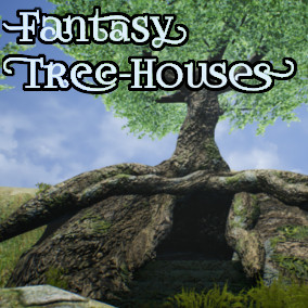 Fantasy tree houses with usual trees versions, animated leaves, and branches.