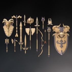 A set of fantasy Bone weapons