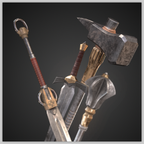 Pack of 8 high quality PBR fantasy weapons.