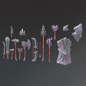 A set of fantasy stone weapons.