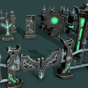 fantasy stylized cemetery can be disassembled into separate props for your game