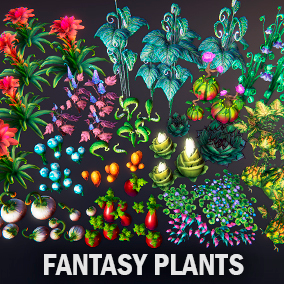 Several kinds of fantasy plants for your project