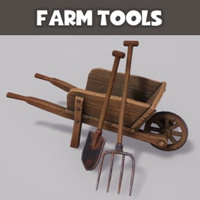 Farm tools with stylized PBR materials.