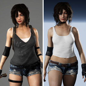 A Post-Apocalyptic style adventure female character that comes with a melee weapon, several animations, and a basic walk run & attack Blueprint.