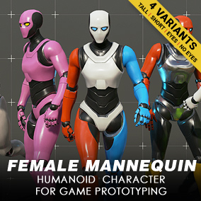 A female mannequin character model for game development and prototyping.