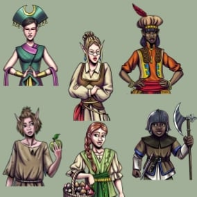 Six female NPCs to fill out your world - 95 unique dialogues performed by 3 different voice actors. Perfect for all your NPCs in your RPG or fantasy game.