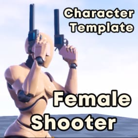 Playable Female Shooter with dual-gun setup for your third person game. Gamepad and Keyboard+Mouse inputs supported.