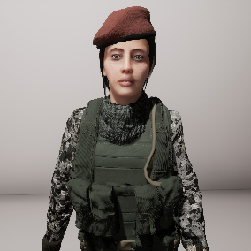 This pack include a female soldier model with four camouflage patterns for customization.