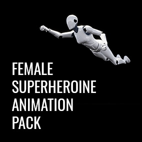 Animation pack of different female flights, flying stances, landings, flying spins and other movements.