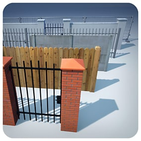 Modular, realistic, optimised, universal Fences. Prepared for games, architectural visualisations and other projects.