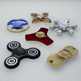 Contains 6 Fidget Spinner. You can edit material color, roughness, normal intensity. These caps of fidget spinners are removable.