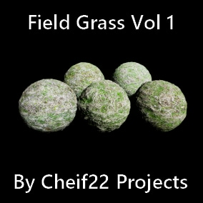 Collection of 5 photo realistic blendable field grass materials in 4K, 2K, 1K resolutions.