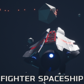 Low Poly Fighter Spaceship with Asteroids Game Sample