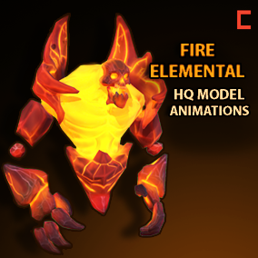 Hand painted fire elemental with HQ animations