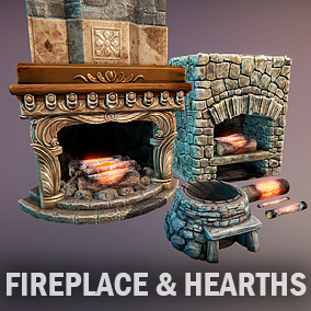 Fireplace and hearths - 8 separate meshes