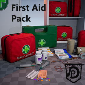 First Aid Pack with highly optimized medical assets for your Game/Film projects. From drugs and painkillers like morphine pills to bandages, patches, and syringes with a clean, modern design, there is all the medical supply you need.