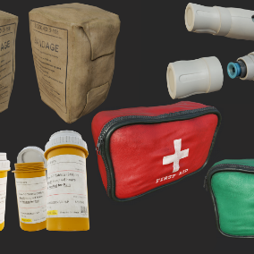 Quality Collection of First Aid Props, perfect for use as medicine / first aid in games.