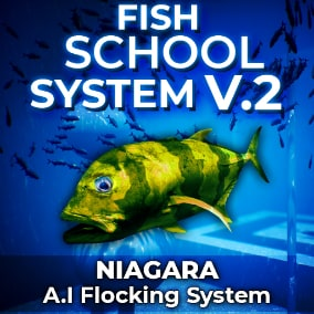 The Fish School System V2 contains A.I school flocking, complete with object and player avoidance - all powered by the Niagara particle system.
