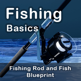 Fishing Basics is a simple fishing system which can interact with AI Fish and Fishing Rod. It is created entirely with Blueprint classes. A user can spool a spinning reel which has transform animation and throw a hook and lines at the desired position.