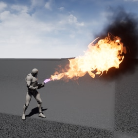 Flamethrower Multiplayer Ready  with damage system