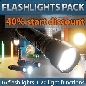 16 detailed Flashlights meshes, 10 flashlight blueprints and 20 beam patterns