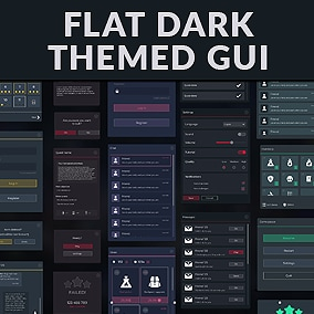 Flat Dark Themed GUI / UI Kit - 5 themes, over 600 PNG, 4k i full hd screens, editable sources