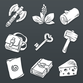 Fantasy RPG styled Flat Inventory icons