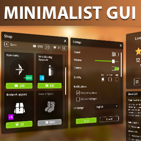 Flat Minimalist GUI / UI KIT - 122 widgets, 112 icons, for FULLHD/4K screens, with PSD and AI editable source files and 645 PNG files