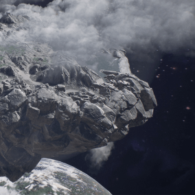 A floating continent scene with landscape, vegetation, simple rock meshes and alien ruins.