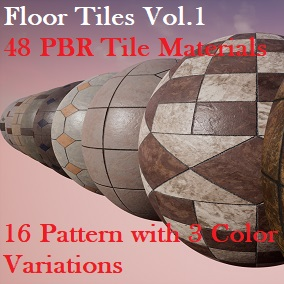 A pack of 48 Floor Tile PBR Materials  (16 Patterns with 3 Color Variatins)