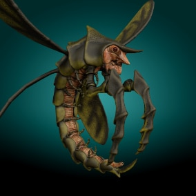 Low-poly model creature Flying Shrimp Monster V4;  Ready to game