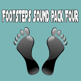 Footsteps Sound Pack Four contains 280 sounds, 140 mono and 140 stereo.