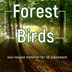 Non-looped material. One shot sounds of FOREST BIRDS calls for placing them in 3D space or VR, such as common blackbird, nightingale, chaffinch, buzzard, thrush, crow, woodpecker and more...