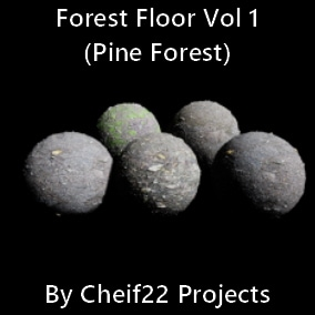 Collection of 5 photo realistic Pine Forest Floor materials in 4K, 2K, 1K resolutions.